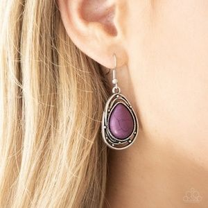Teardrop Purple Stone Fishhook Earrings